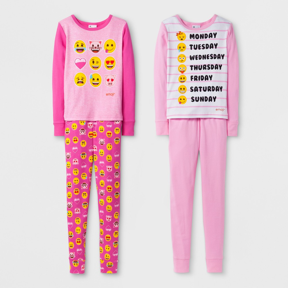 Girls Global Merchandising Services Emoji 4pc Pajama Set - Pink 10