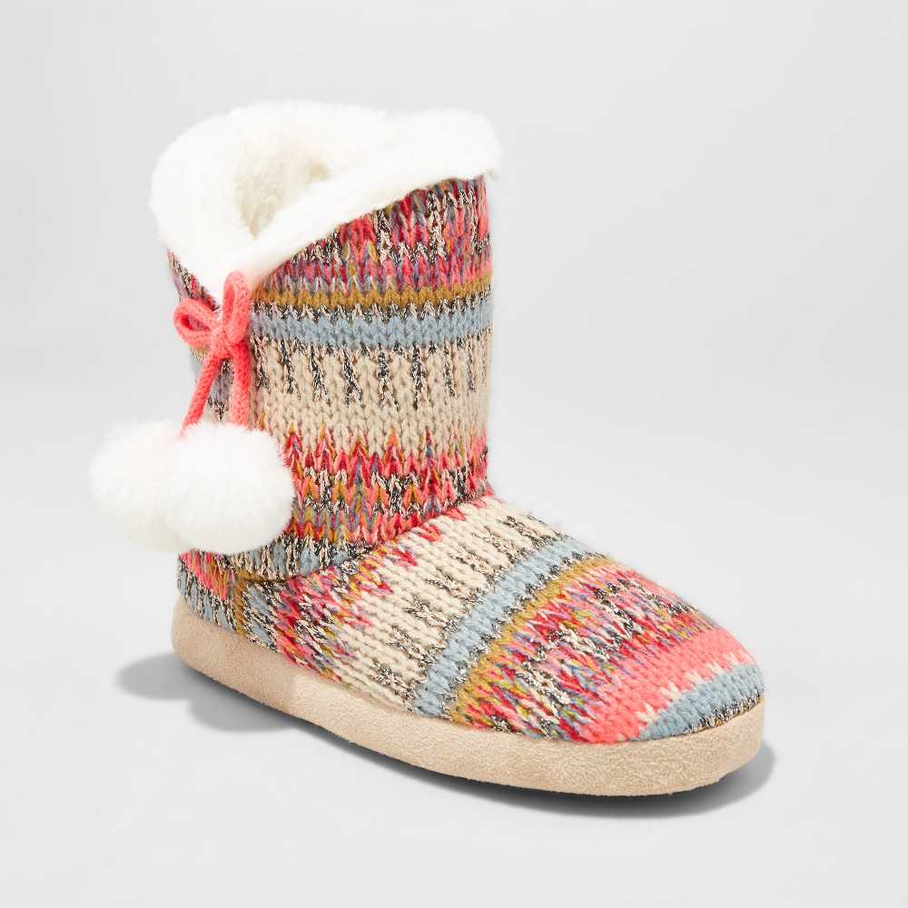 Girls Paisley Knit Bootie Slippers - Cat & Jack M(2-3), Size: M (2-3), Multicolored