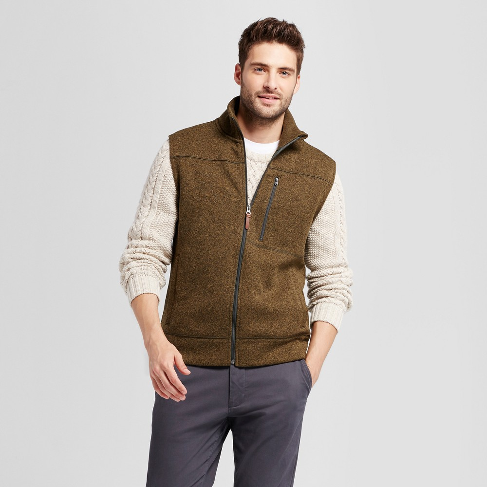 Mens Standard Fit Sweater Fleece Vest - Goodfellow & Co Olive (Green) L