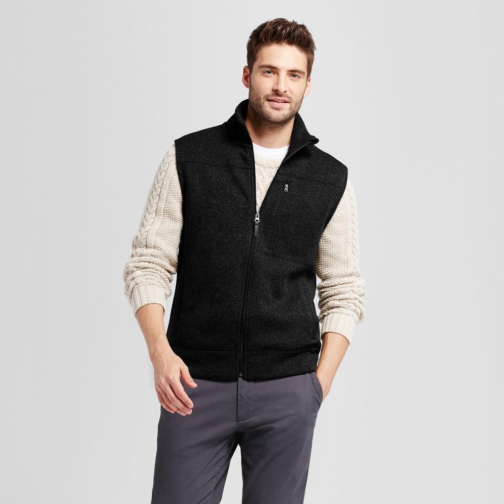 Mens Standard Fit Sweater Fleece Vest - Goodfellow & Co Black Xxl