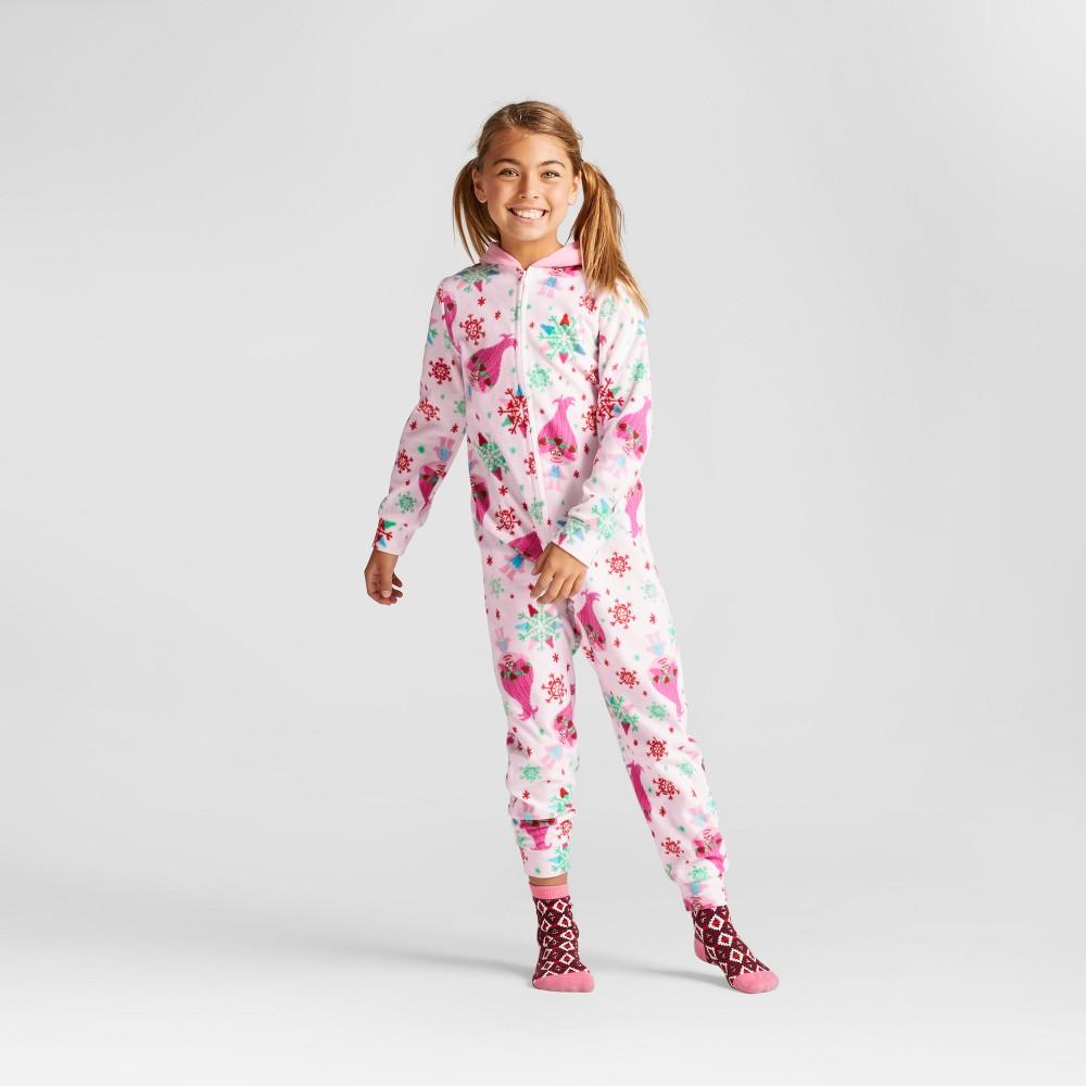 Girls Dreamworks Trolls Blanket Sleeper with Character Hood - Pink M