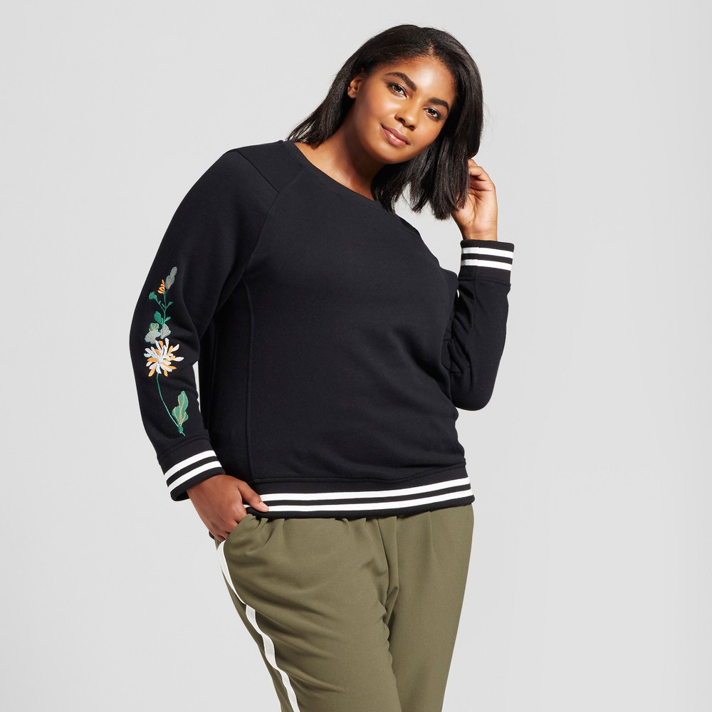 Womens Plus Size Embroidered Sweatshirt - Ava & Viv Black 2X
