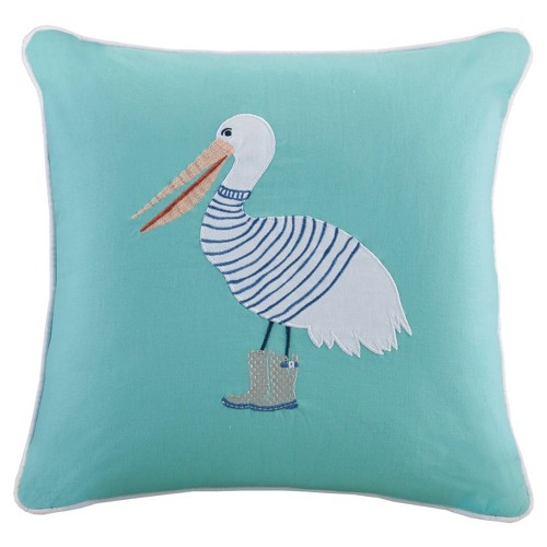 'Aqua (Blue) Nigel Throw Pillow with Embroidery and Applique (20''x20'')'