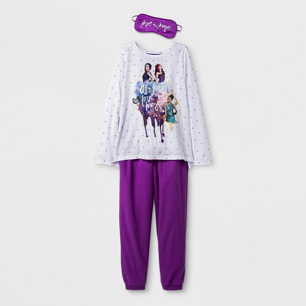 Girls Disney Descendants Set With Eye Mask Pajama Set - White L