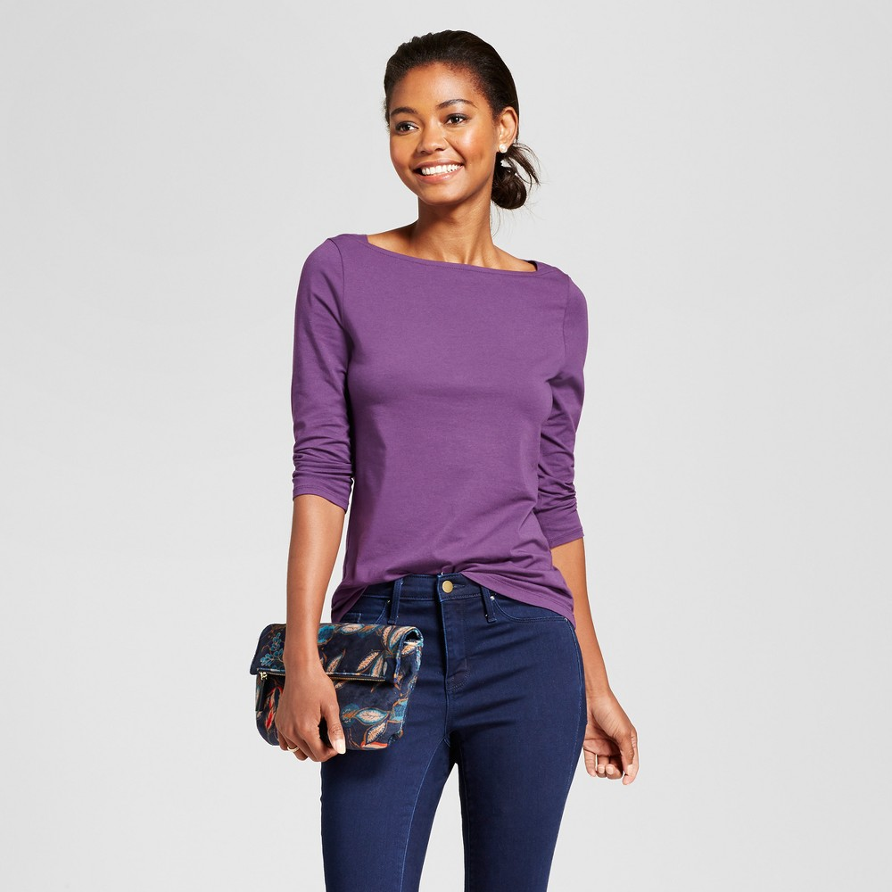Womens 3/4 Sleeve Boatneck T-Shirt - A New Day Violet (Purple) L