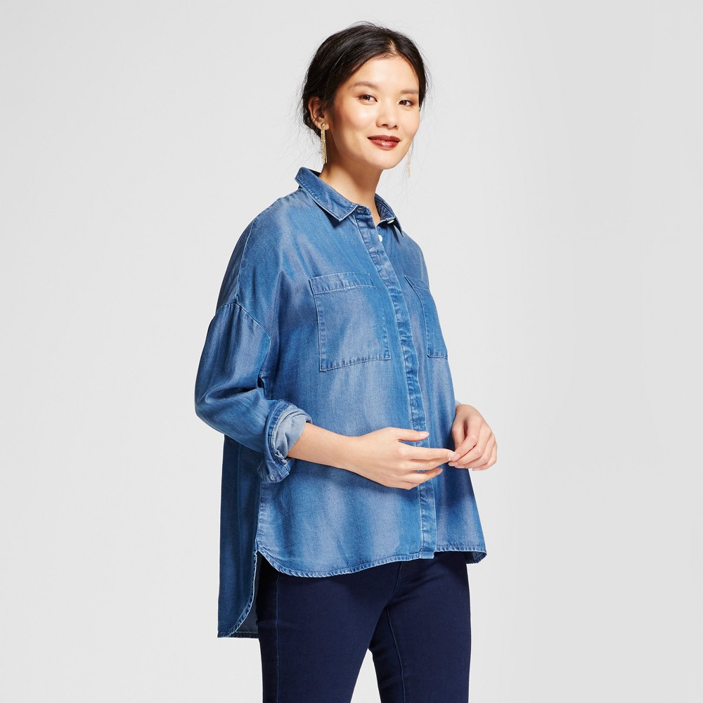Womens Oversized Tenel Shirt - A New Day Blue M