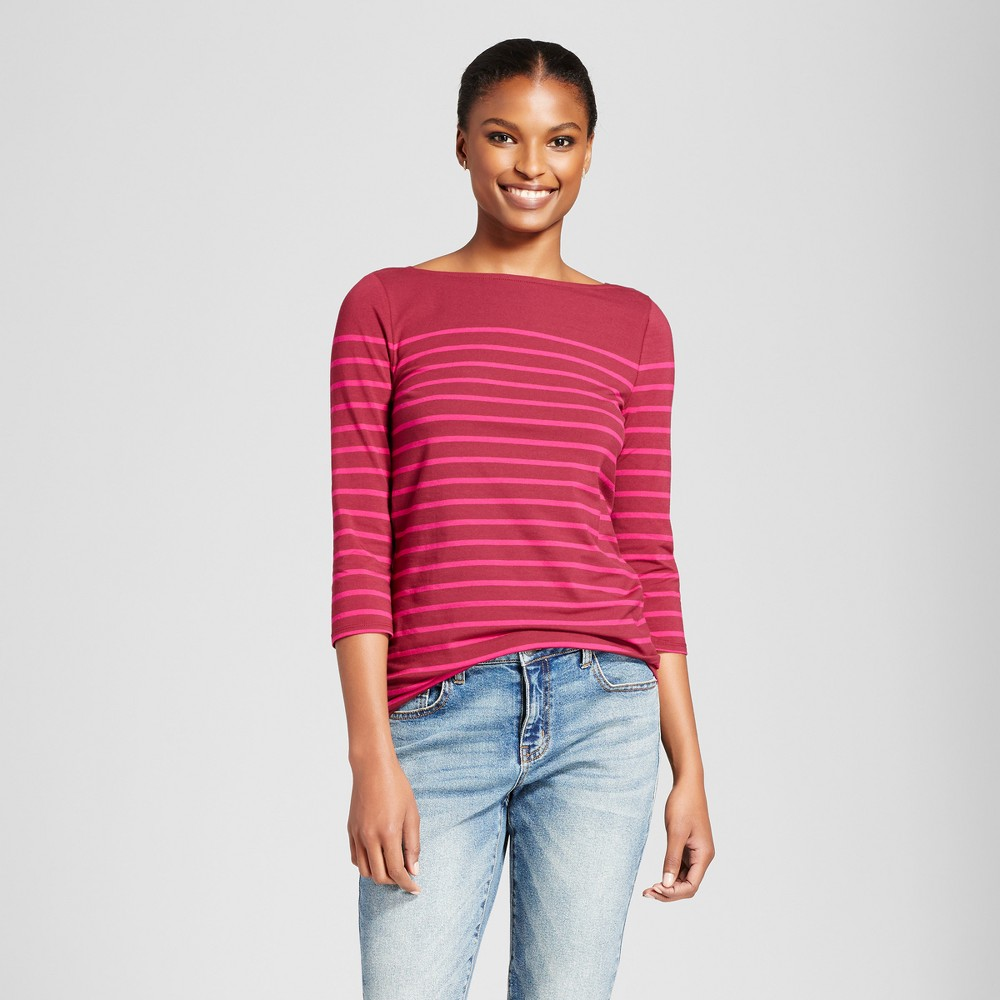 Womens Striped 3/4 Sleeve Boatneck T-Shirt - A New Day Burgundy/Pink (Red/Pink) XS