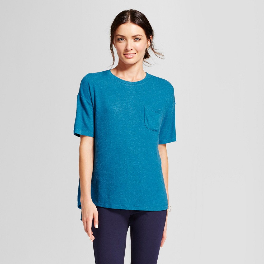 Womens Cozy Knit Short Sleeve Top - A New Day Teal (Blue) Xxl