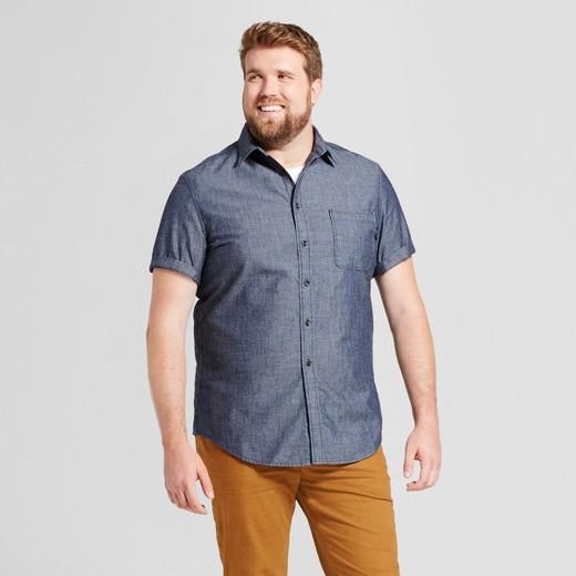 Men 39 s big tall short sleeve denim shirt goodfellow for Mens medium tall shirts