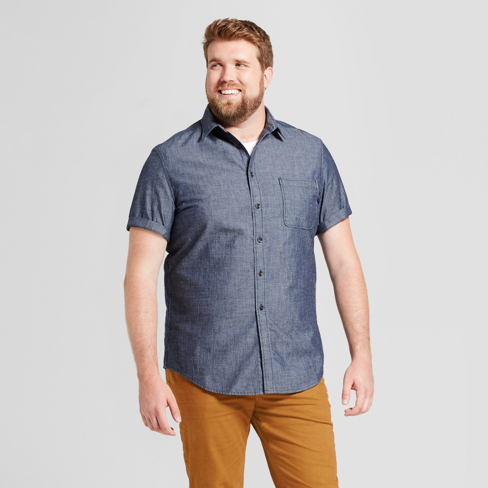 Mens Big & Tall Short Sleeve Denim Shirt - Goodfellow & Co Medium Wash 2XBT