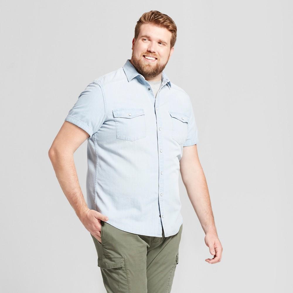 Mens Big & Tall Short Sleeve Denim Shirt - Goodfellow & Co Silver Wash Xlt