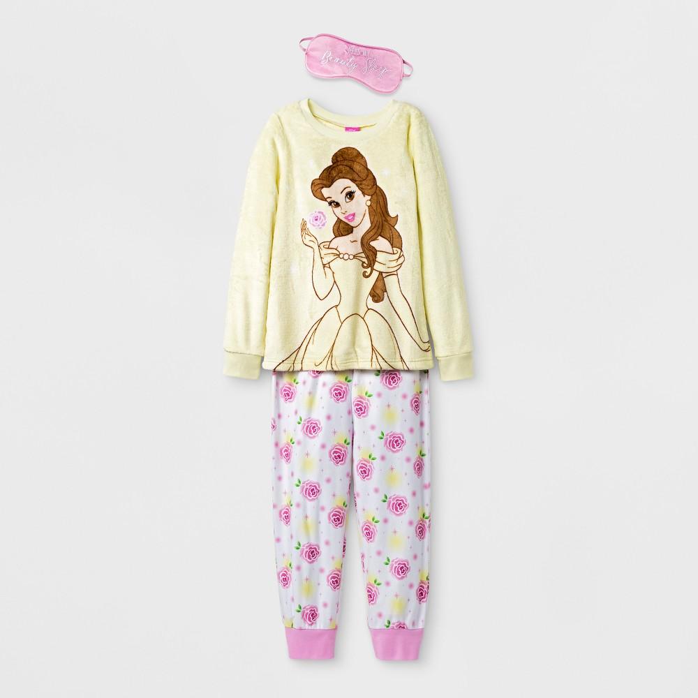 Girls Disney Princess Belle Set With Eye Mask Pajama Set - Yellow XS