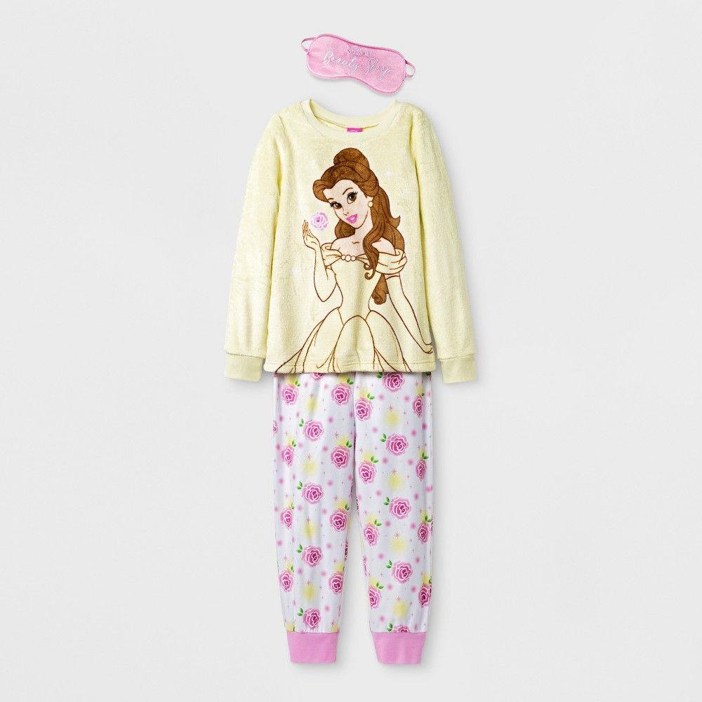 Girls Disney Princess Belle Set With Eye Mask Pajama Set - Yellow M