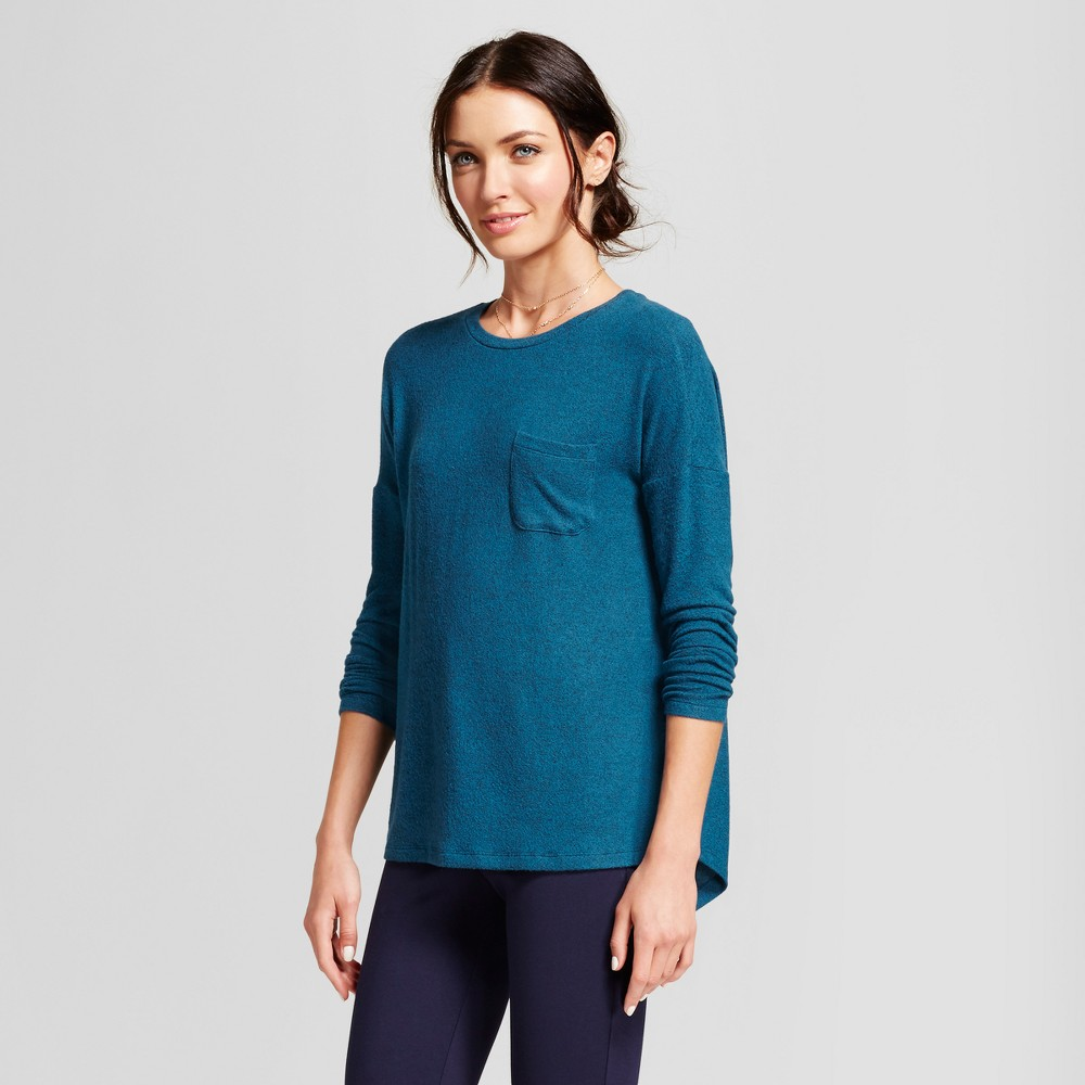 Womens Cozy Knit Long Sleeve Top - A New Day Teal (Blue) XL