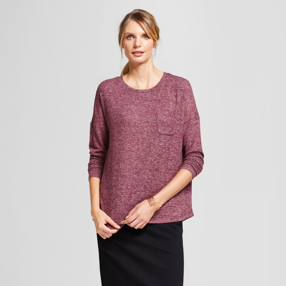 Women's Cozy Knit Long Sleeve Top - A New Day Burgundy (Red) L