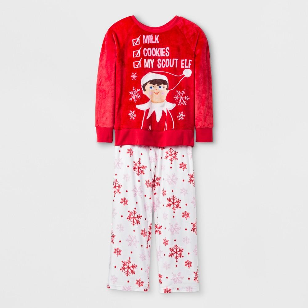 Girls Elf on the Shelf Set With Gift Bag Pajama Set - Red M