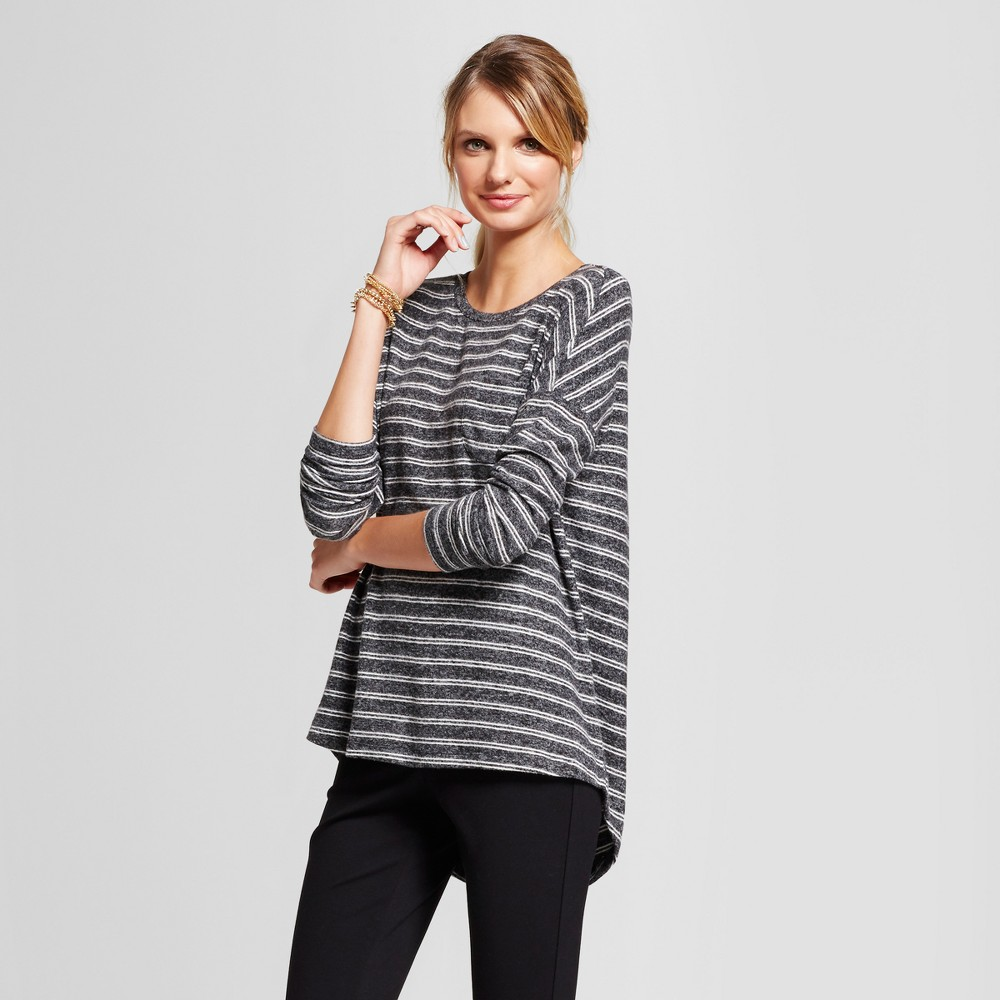 Womens Striped Cozy Knit Long Sleeve Top - A New Day Dark Gray/White M