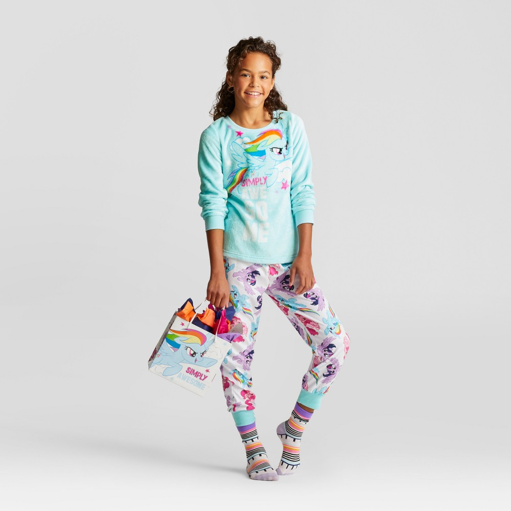 Girls Hasbro My Little Pony Set With Gift Bag Pajama Set - Blue S