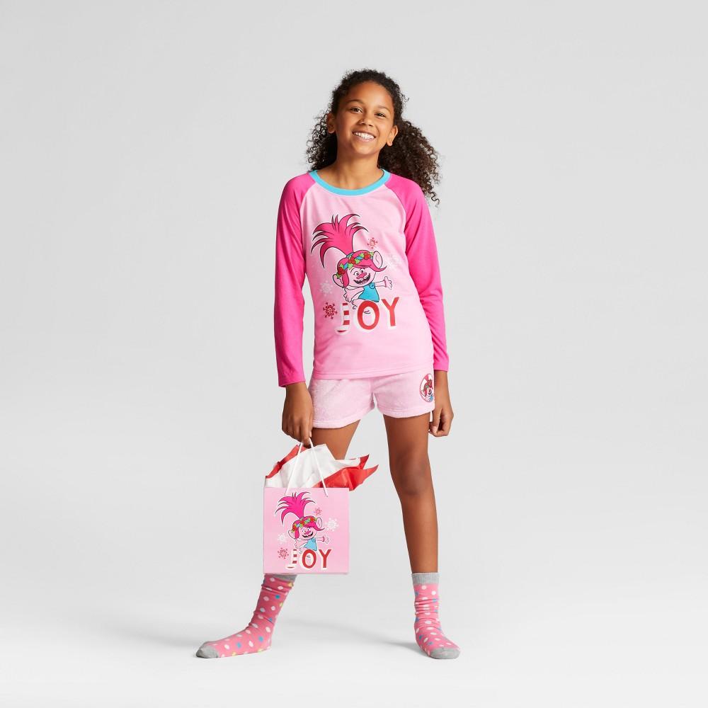 Girls Dream Works Trolls Set With Gift Bag Pajama Set - Pink XS