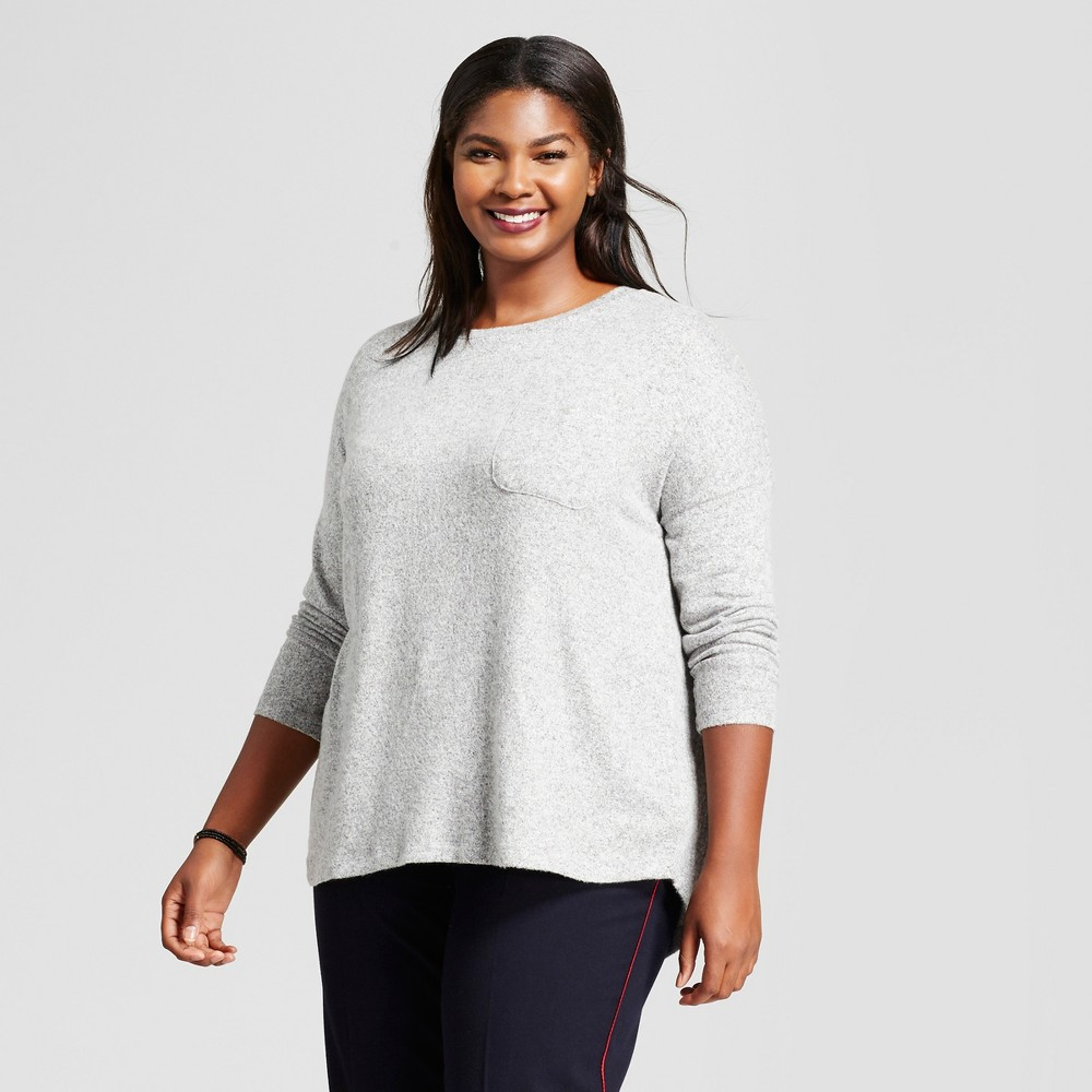 Womens Plus Size Cozy Knit Long Sleeve Top - A New Day Gray 1X