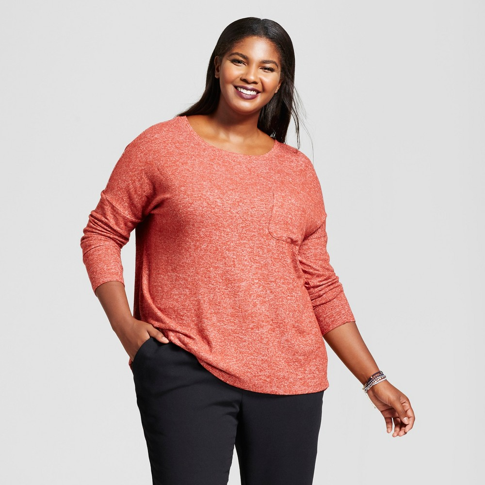 Womens Plus Size Cozy Knit Long Sleeve Top - A New Day Rust (Red) 1X