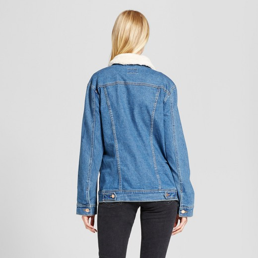 Women's Oversized Denim Jacket with Fur Collar - Mossimo Supply Co ...