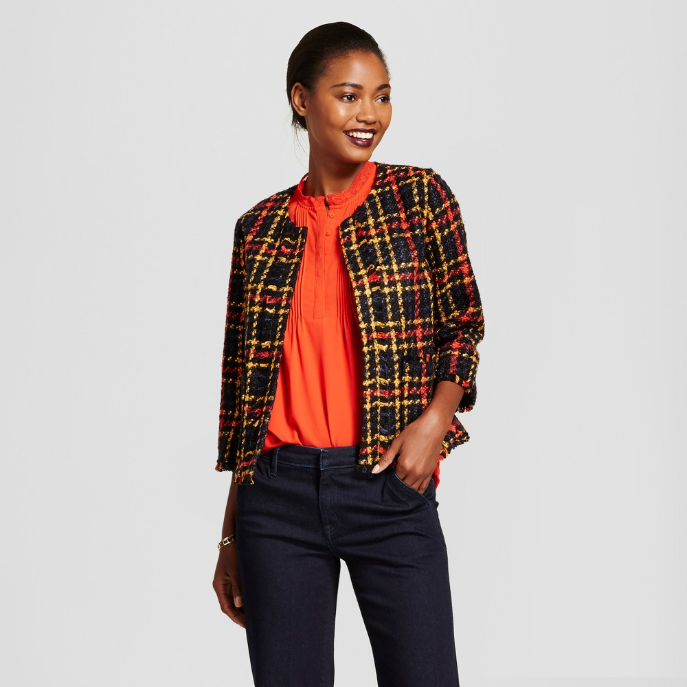 Womens Cropped Plaid Tweed Jacket - A New Day Black M