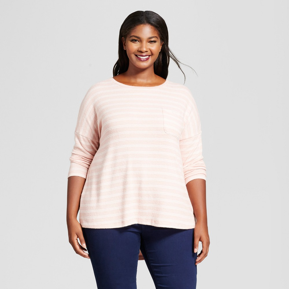 Womens Plus Size Striped Cozy Knit Long Sleeve Top - A New Day Pink/White X