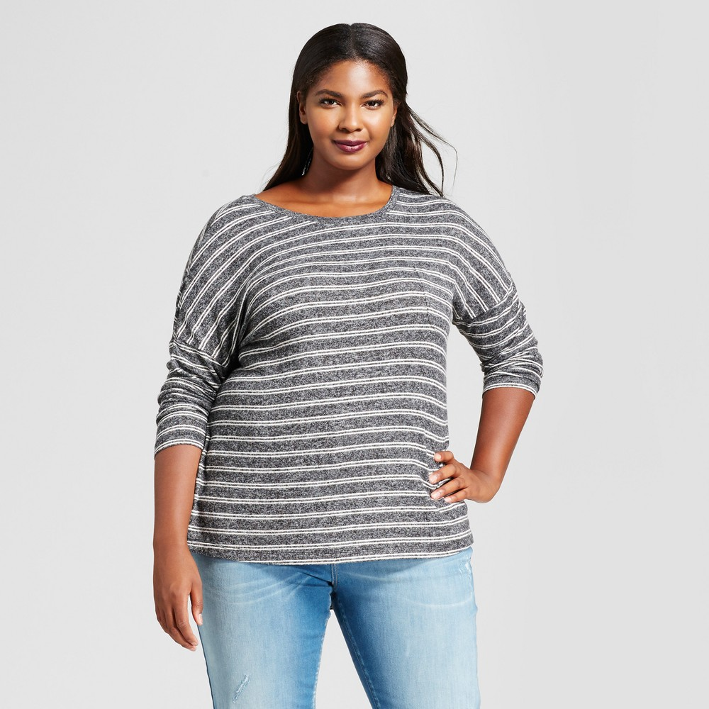 Womens Plus Size Striped Cozy Knit Long Sleeve Top - A New Day Dark Gray/White 2X
