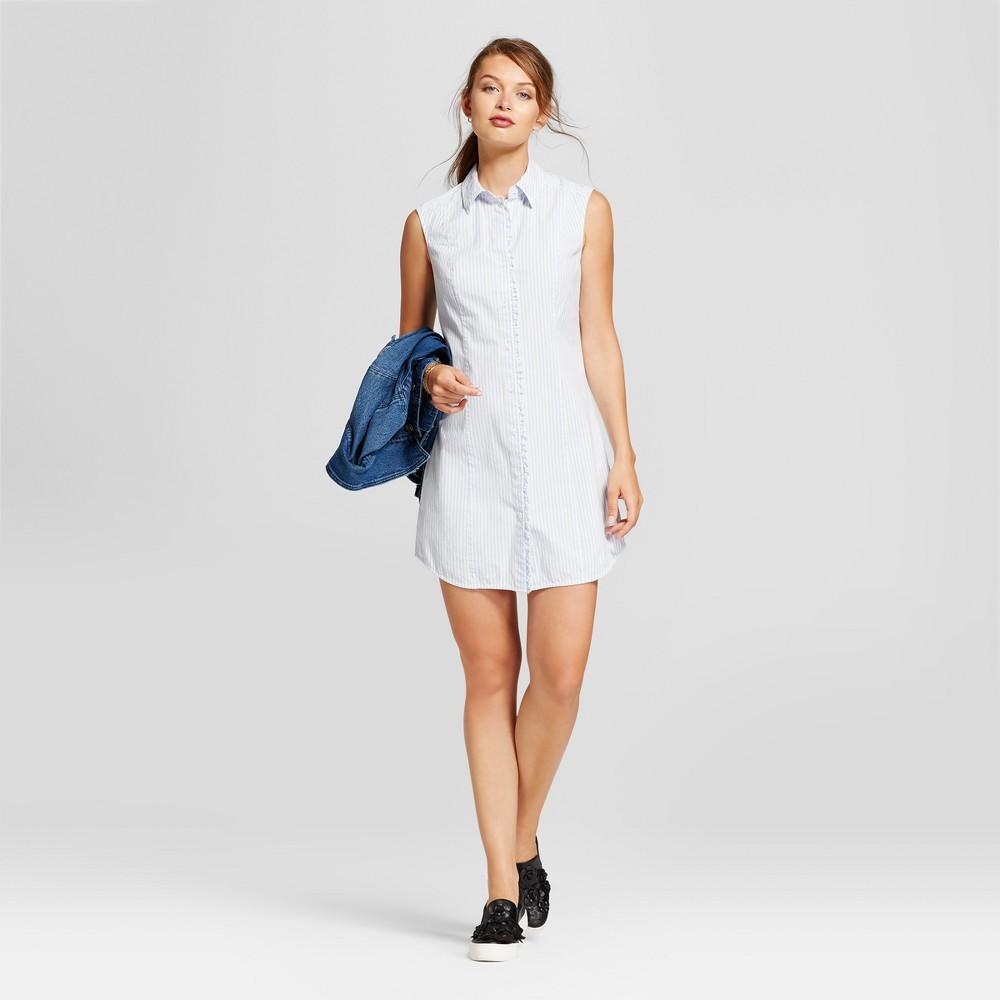 Womens Ruffle Sleeveless Shirt Dress - A New Day Cream XL, White
