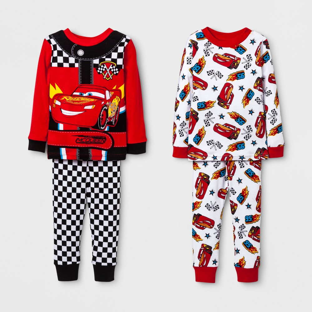 Toddler Boys Cars 4pc Pajama Set - Red 2T, Size: 18 M