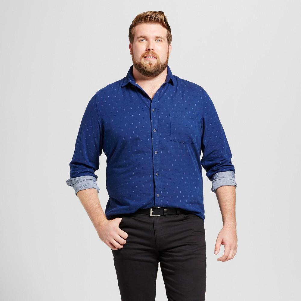 Mens Big & Tall Standard Fit Long Sleeve Double Weave Shirt - Goodfellow & Co Navy (Blue) MT