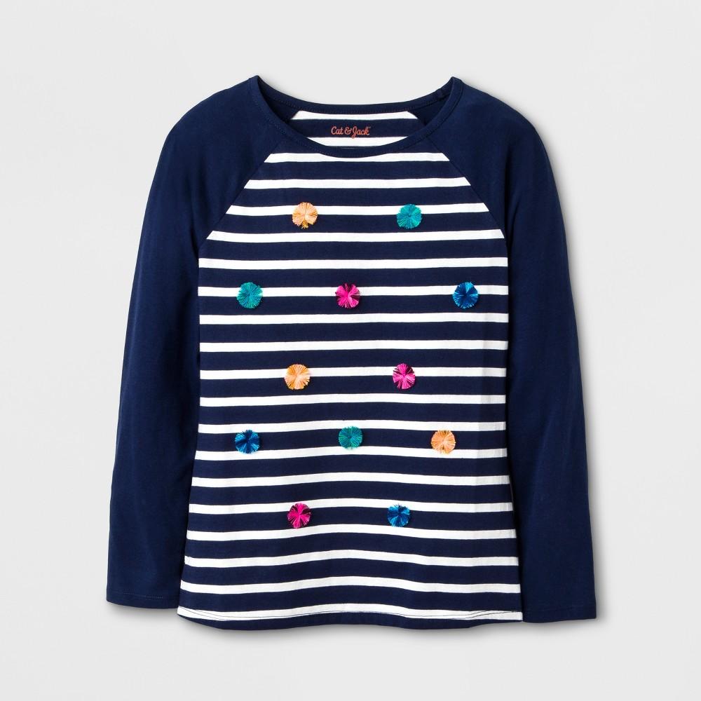 Girls Long Sleeve Stripe Graphic T-Shirt - Cat & Jack Navy XL, Blue