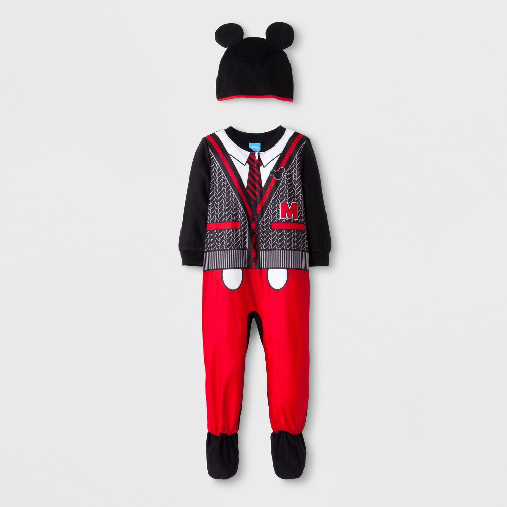 Toddler Boys 2pc Mickey Mouse Footed Sleeper - Black 18M, Size: 18 M
