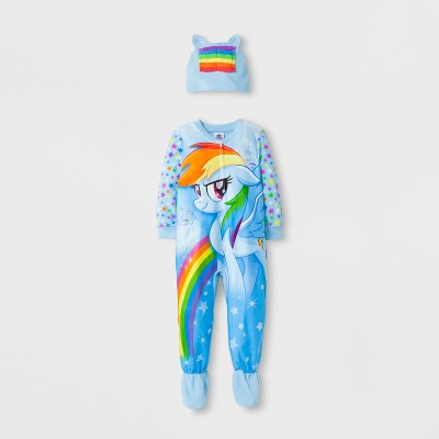Toddler Girls' My Little Pony Footed Sleeper - Blue 4T