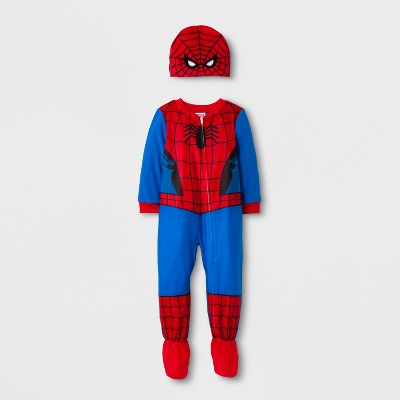 Toddler Boys' 2pc Spiderman Footed Sleeper - Red 12M