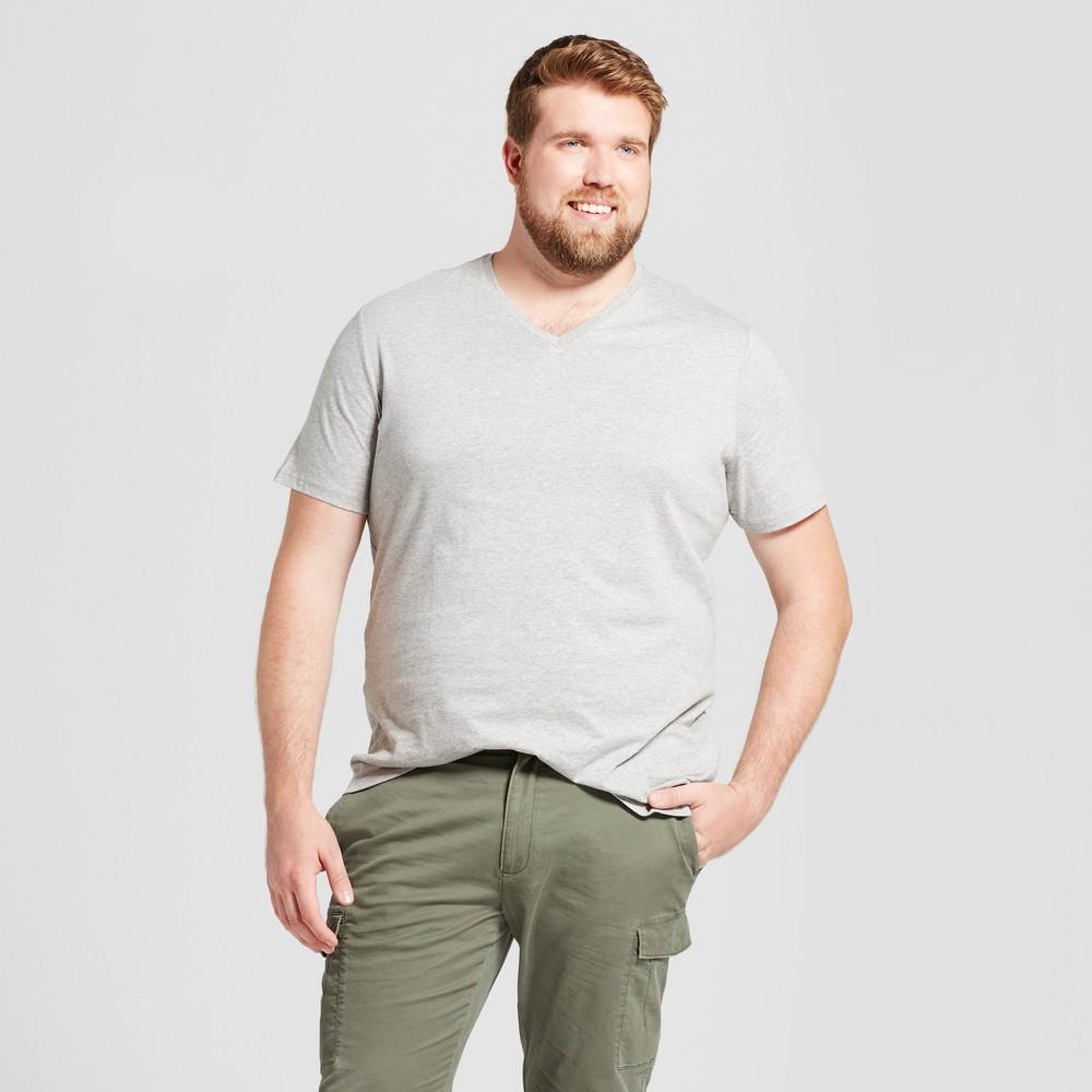 Mens Big & Tall Standard Fit Short Sleeve V-Neck T-Shirt - Goodfellow & Co Gray LT