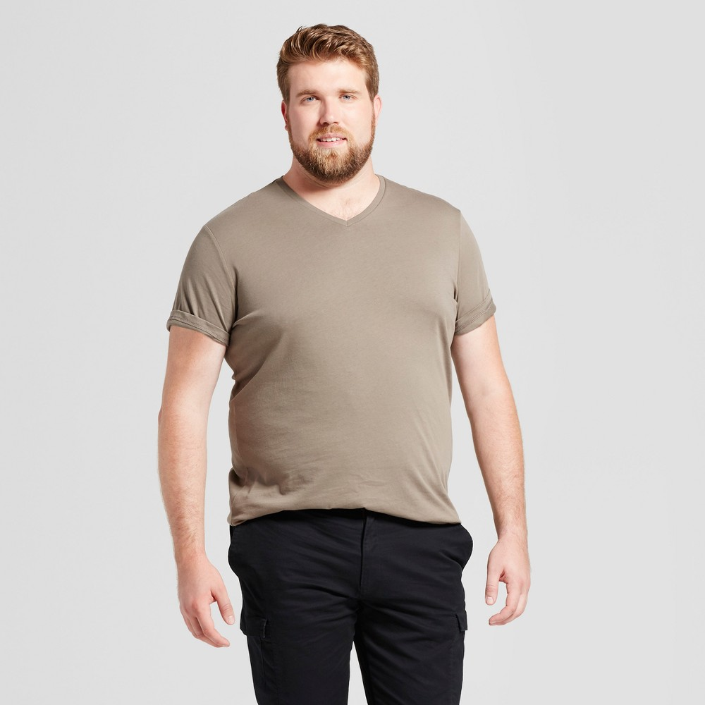 Mens Big & Tall Standard Fit Short Sleeve V-Neck T-Shirt - Goodfellow & Co Olive (Green) MT