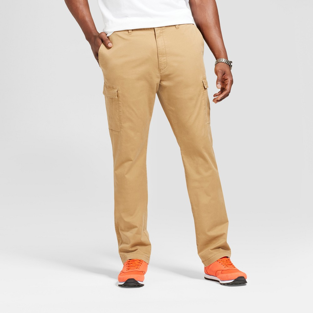 Men's Big & Tall Slim Fit Cargo Pants - Goodfellow & Co Light Brown 46x32