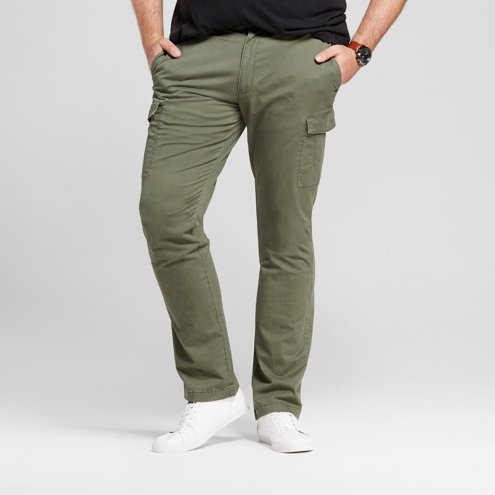 Mens Big & Tall Slim Fit Cargo Pants - Goodfellow & Co Olive (Green) 34X36