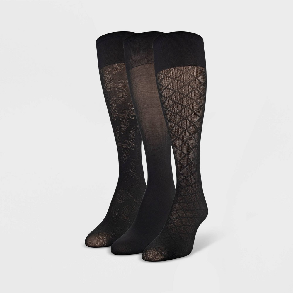 Womens Queen Size Peds 3pk Light Opaque Trouser Diagonal Basketweave Socks - Black 8-12, Size: 10-12