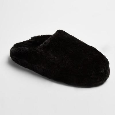 Women's Cordette Plush Scuff Slippers - Mossimo Supply Co.™ Black S(5-6)