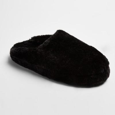 Women's Cordette Plush Scuff Slippers - Mossimo Supply Co.™ Black M(7-8)