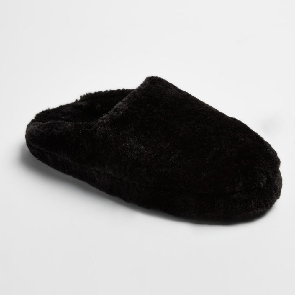 Womens Cordette Plush Scuff Slippers - Mossimo Supply Co. Black L(9-10), Size: L (9-10)