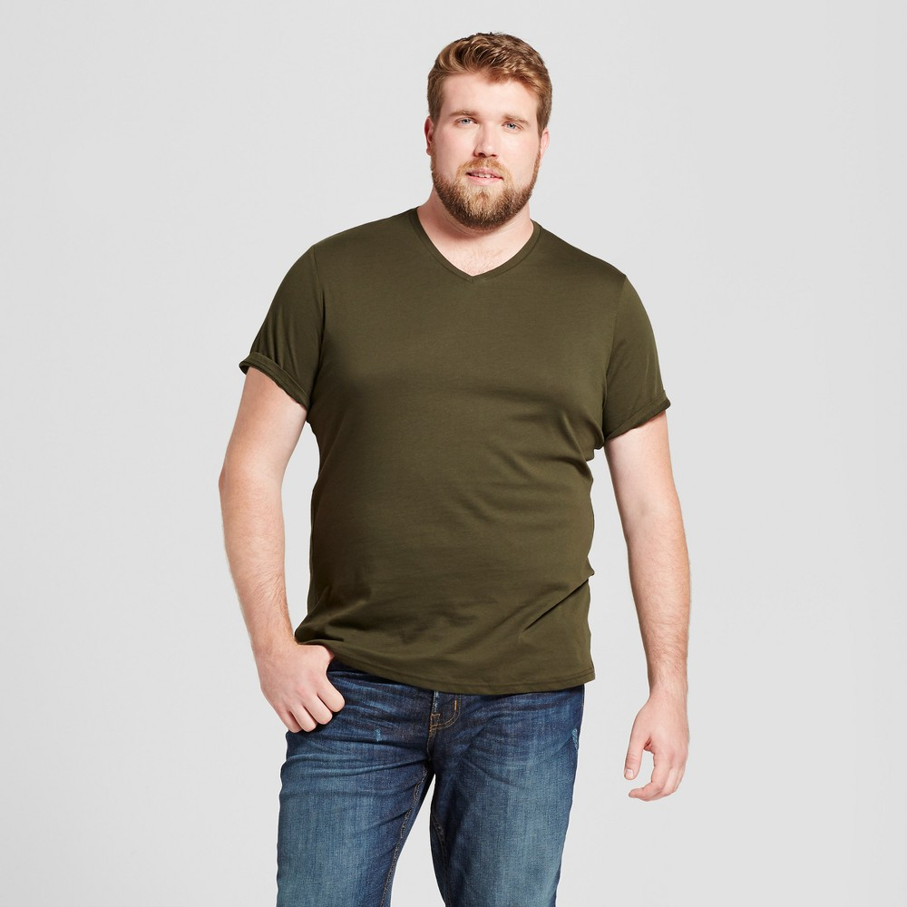 Mens Big & Tall Standard Fit Short Sleeve V-Neck T-Shirt - Goodfellow & Co Green 3XB