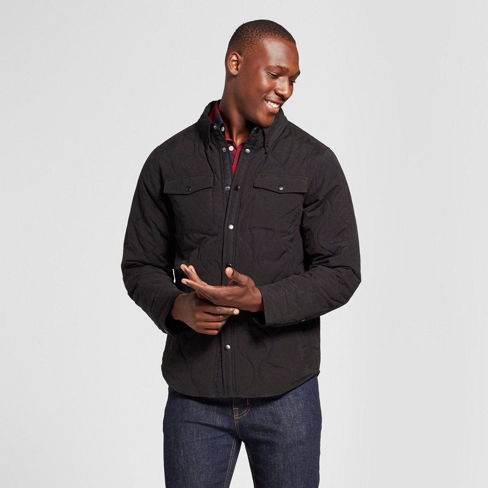Mens Standard Fit Quilted Shirt Jacket - Goodfellow & Co Black S
