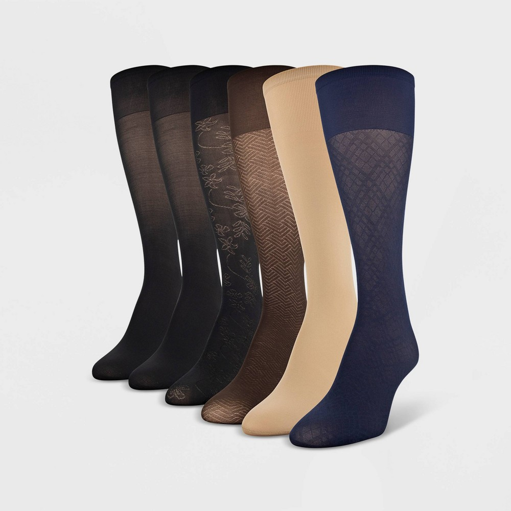Womens Peds 6pk Light Opaque Trouser Socks - Diagonal Pattern Navy/Nude/Brown/Black 5-10, Size: 9-11