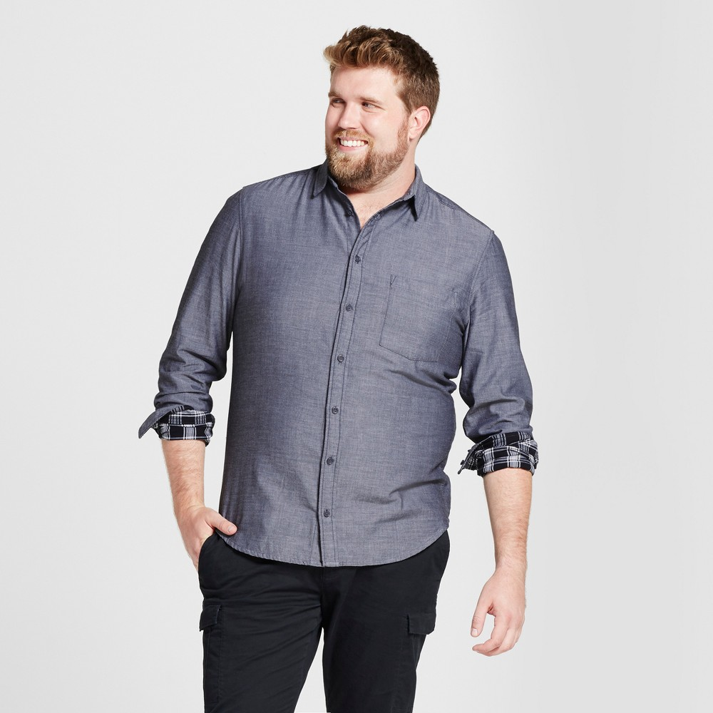 Mens Big & Tall Standard Fit Long Sleeve Double Weave Shirt - Goodfellow & Co Black 3XB