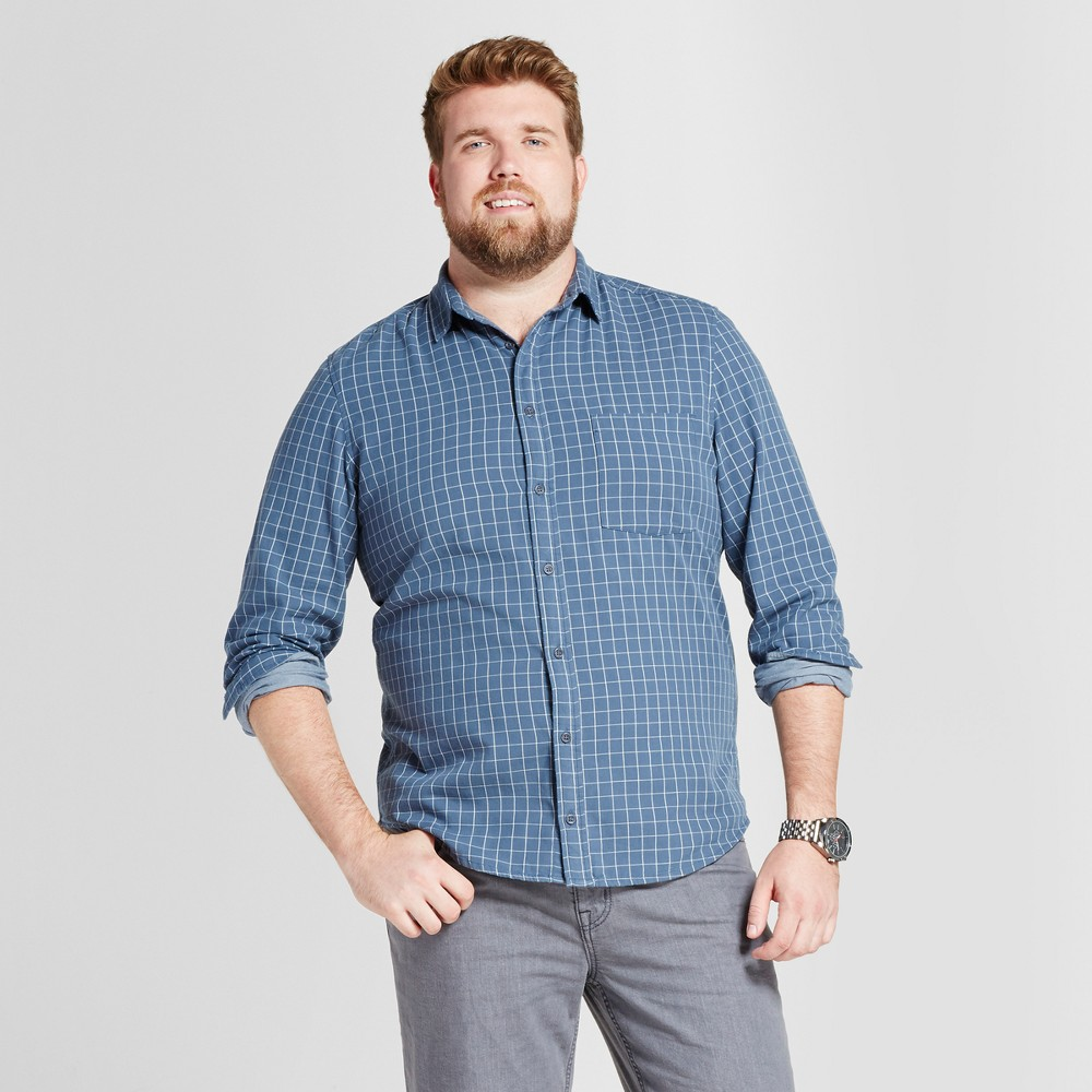 Mens Big & Tall Standard Fit Long Sleeve Double Weave Shirt - Goodfellow & Co Blue 4XBT