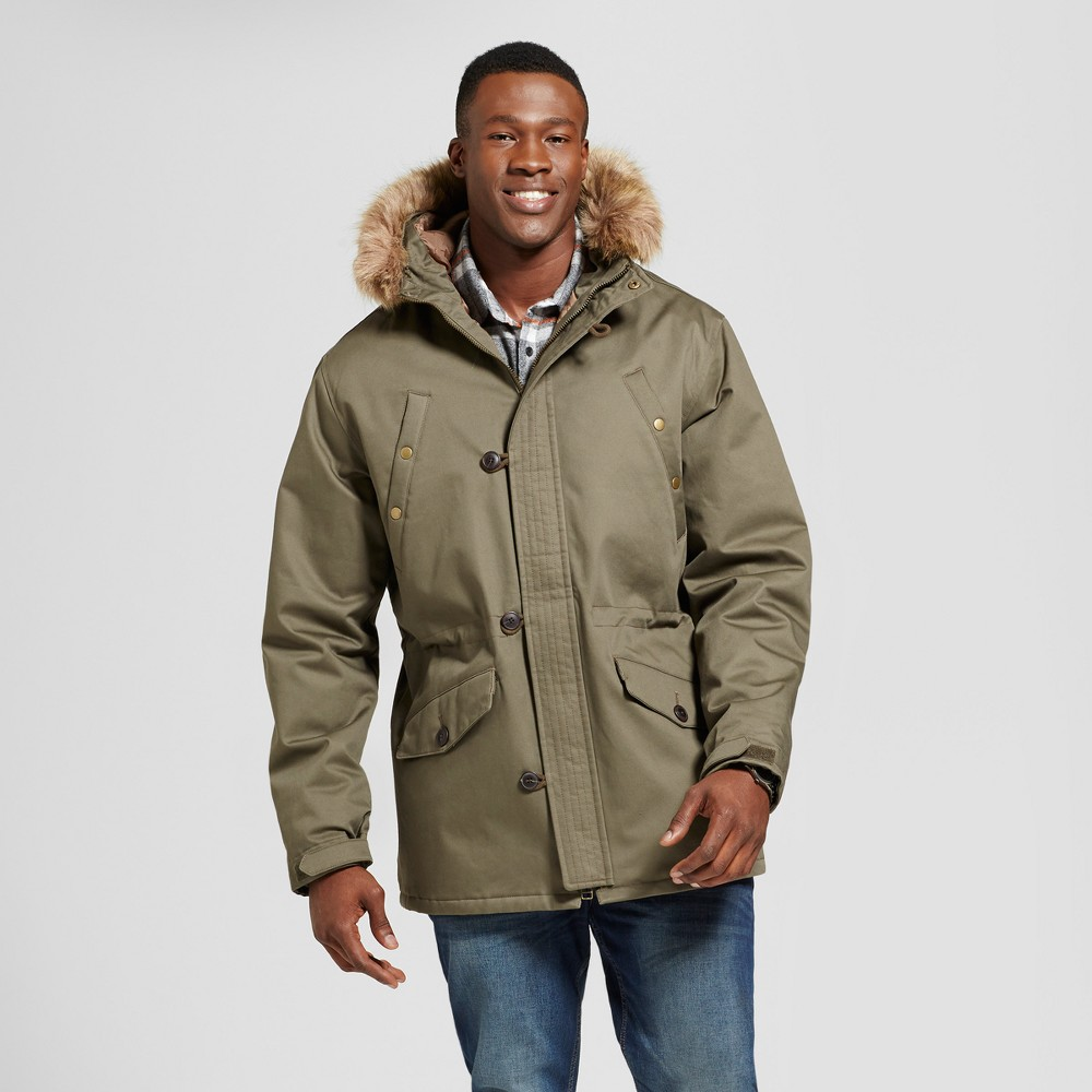 Mens Big & Tall Military Winter Parka-Army Green - Goodfellow & Co Olive M - Tall, Size: MT